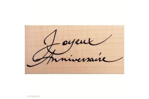 Tampon bois Joyeux anniversaire 7,2 x 3 cm