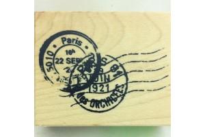 Tampon bois Cachet postal 5,2 x 3,3 cm