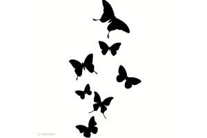 Tampon bois Envolée de papillon 6,2 x 3,4 cm