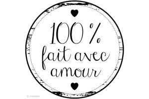 Tampon bois rond 100% fait avec amour 3 cm