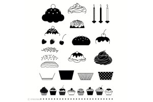 Set de 21 tampons transparents Cupcakes